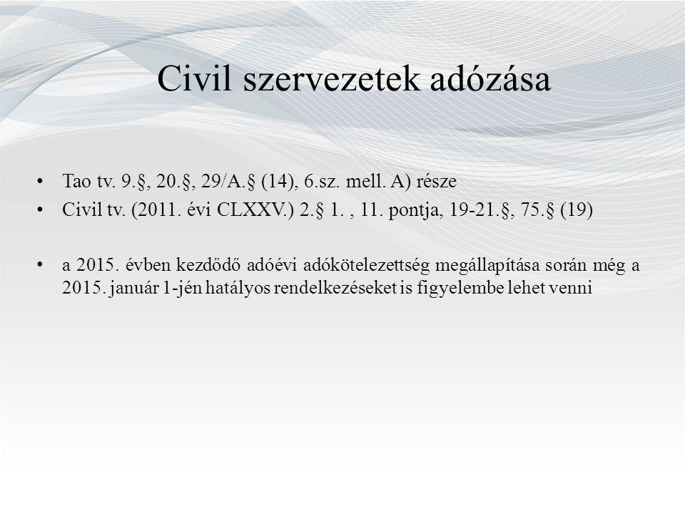 Civil szervezetek adózása Tao tv. 9.§, 20.§, 29/A.§ (14), 6.sz.