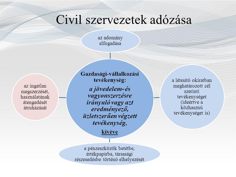 Civil szervezetek adózása (bevételek) Az alapcél szerinti/ közhasznú tevékenység tekintetében elkülönítve kell kimutatni többek között: alapcél szerinti tevékenységhez kapott támogatást, adományt a kizárólag, illetve a részben az alapcél szerinti (közhasznú) tevékenységet szolgáló dolog, jog átruházásának ellenértékét, illetve átengedésének ellenértékéből a dolog, illetve a jog korábbi alapcél szerinti (közhasznú) használatával arányos részt; a pénzeszközök betétbe, értékpapírba, társasági részesedésbe történő elhelyezése révén elért kamatot, osztalékot, árfolyamnyereséget az ingatlan megszerzése, használatának átengedése és átruházása révén megszerzett bevételét …
