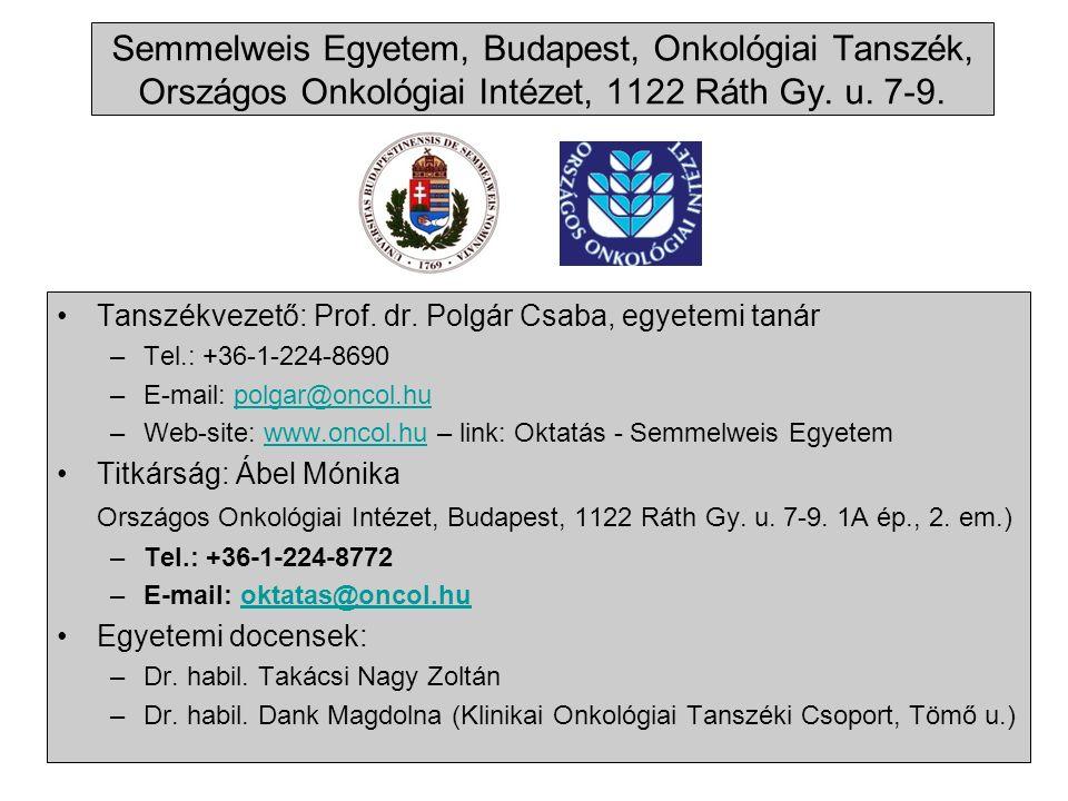 Semmelweis Egyetem, Budapest, Onkológiai Tanszék, Országos Onkológiai Intézet, 1122 Ráth Gy.