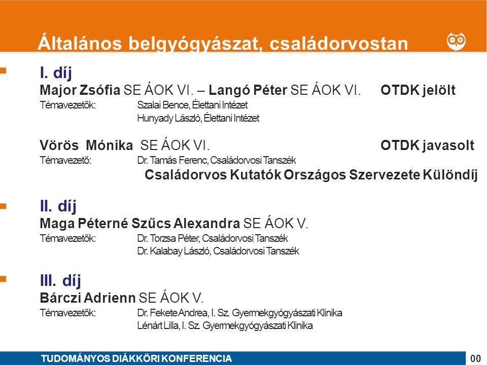 1 II.díj Gaál Anikó SE GYTK V. Témavezető: Dr. Szoboszlai Norbert, ELTE TTK Kémiai Intézet III.