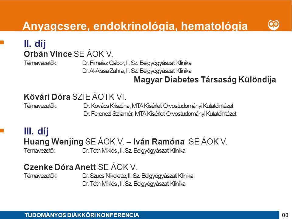 1 I.díj Farkas János SE ÁOK V. OTDK jelölt Témavezetők: Dr.