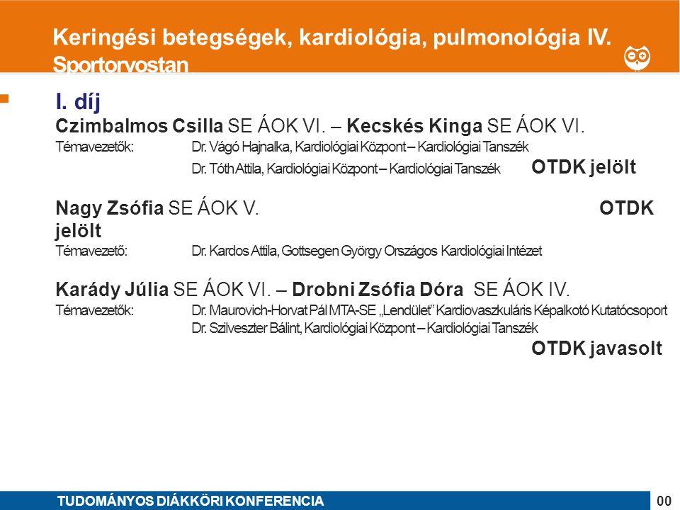 1 I. díj Czimbalmos Csilla SE ÁOK VI. – Kecskés Kinga SE ÁOK VI.
