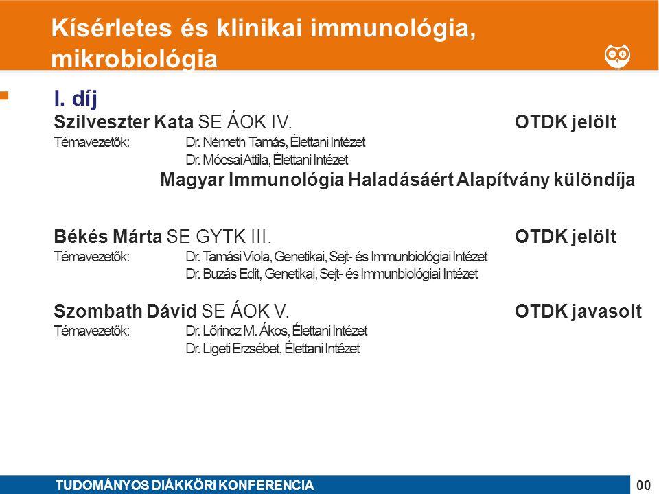 1 I. díj Szilveszter Kata SE ÁOK IV. OTDK jelölt Témavezetők: Dr.