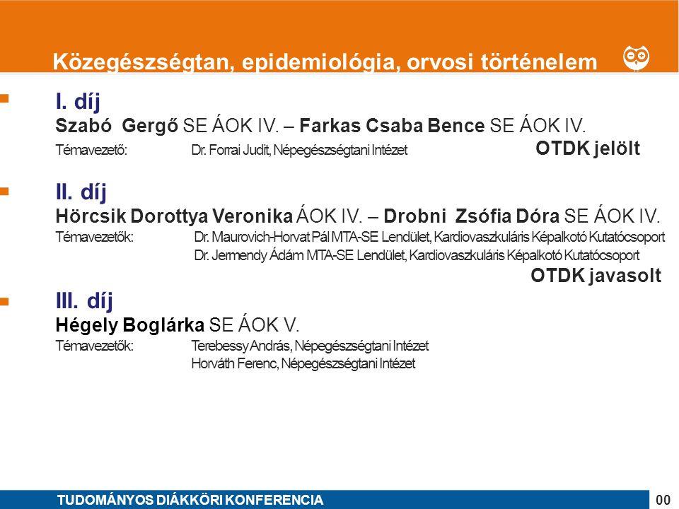 1 I. díj Szabó Gergő SE ÁOK IV. – Farkas Csaba Bence SE ÁOK IV.