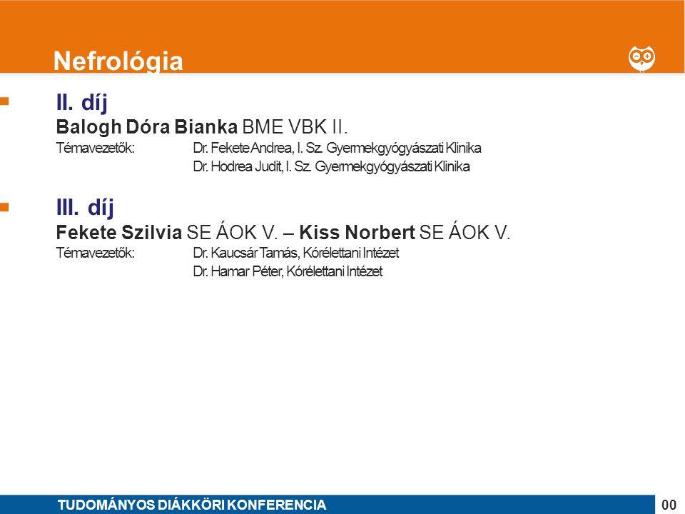 1 II. díj Balogh Dóra Bianka BME VBK II. Témavezetők: Dr.