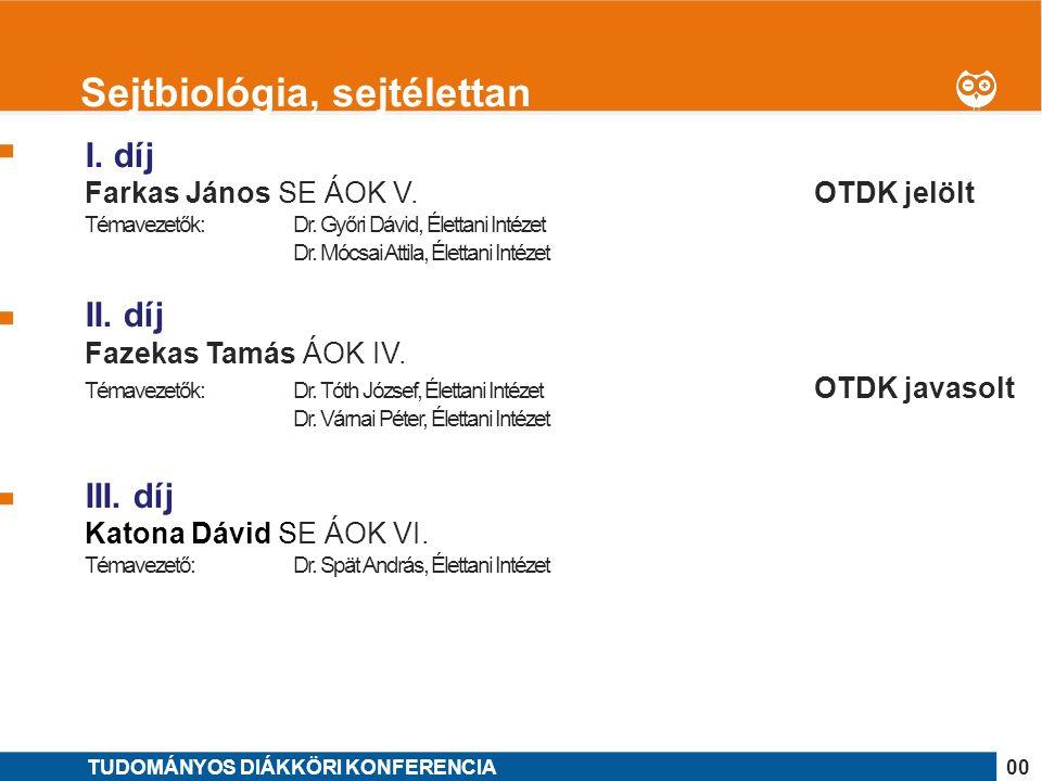 1 I. díj Farkas János SE ÁOK V. OTDK jelölt Témavezetők: Dr.