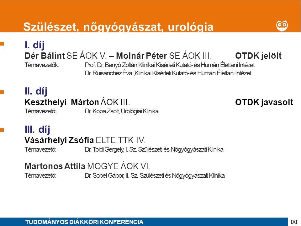 1 I. díj Dér Bálint SE ÁOK V. – Molnár Péter SE ÁOK III.OTDK jelölt Témavezetők: Prof.