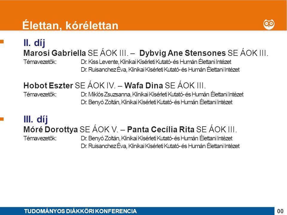 1 II.díj Radics Dóra SE ÁOK V. – Hajnal Luca SE ÁOK V.