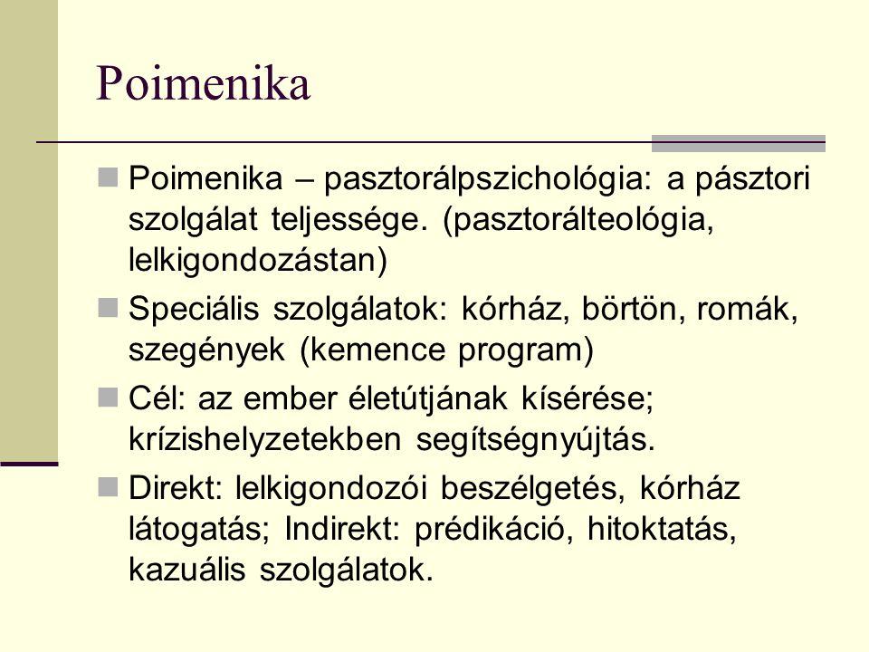 Poimenika Poimenika – pasztorálpszichológia: a pásztori szolgálat teljessége.