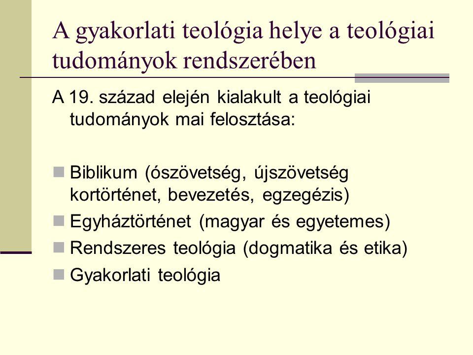 A gyakorlati teológia helye a teológiai tudományok rendszerében A 19.