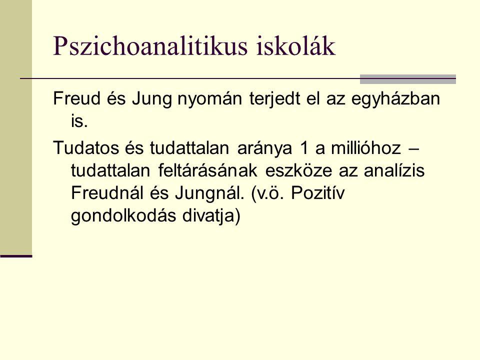 Pszichoanalitikus iskolák Freud és Jung nyomán terjedt el az egyházban is.