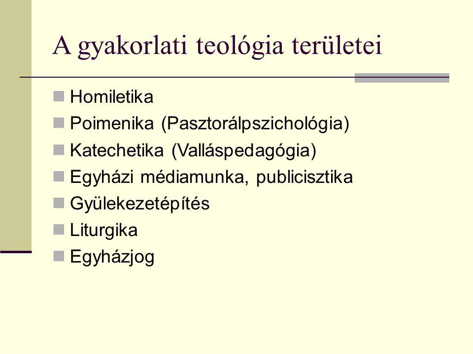 A gyakorlati teológia területei Homiletika Poimenika (Pasztorálpszichológia) Katechetika (Valláspedagógia) Egyházi médiamunka, publicisztika Gyülekezetépítés Liturgika Egyházjog