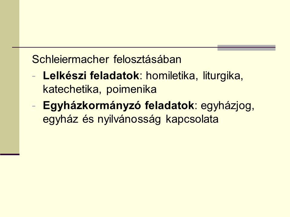 Schleiermacher felosztásában -Lelkészi feladatok: homiletika, liturgika, katechetika, poimenika -Egyházkormányzó feladatok: egyházjog, egyház és nyilvánosság kapcsolata