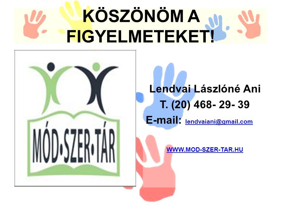 KÖSZÖNÖM A FIGYELMETEKET. Lendvai Lászlóné Ani T.