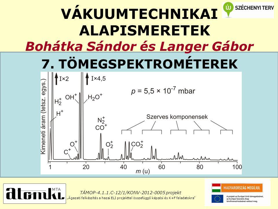 """VÁKUUMTECHNIKAI ALAPISMERETEK Bohátka Sándor és Langer Gábor 7. TÖMEGSPEKTROMÉTEREK TÁMOP-4.1.1.C-12/1/KONV-2012-0005 projekt """"Ágazati felkészítés a h"""