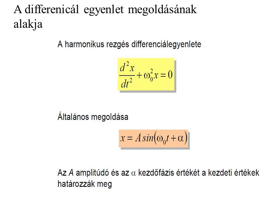 A differenicál egyenlet megoldásának alakja