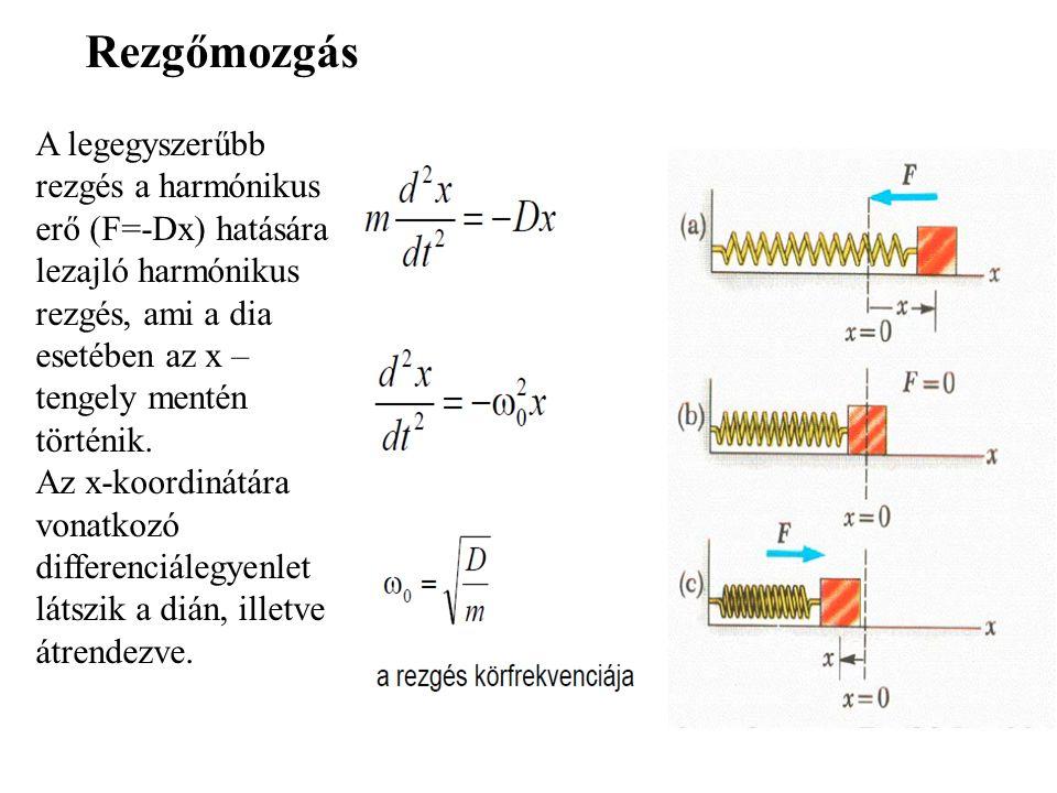 Rezgőmozgás A legegyszerűbb rezgés a harmónikus erő (F=-Dx) hatására lezajló harmónikus rezgés, ami a dia esetében az x – tengely mentén történik.