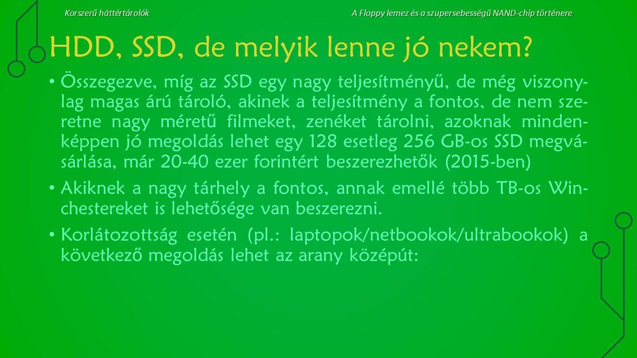 Korszerű háttértárolókA Floppy lemez és a szupersebességű NAND-chip történere HDD, SSD, de melyik lenne jó nekem? Összegezve, míg az SSD egy nagy telj