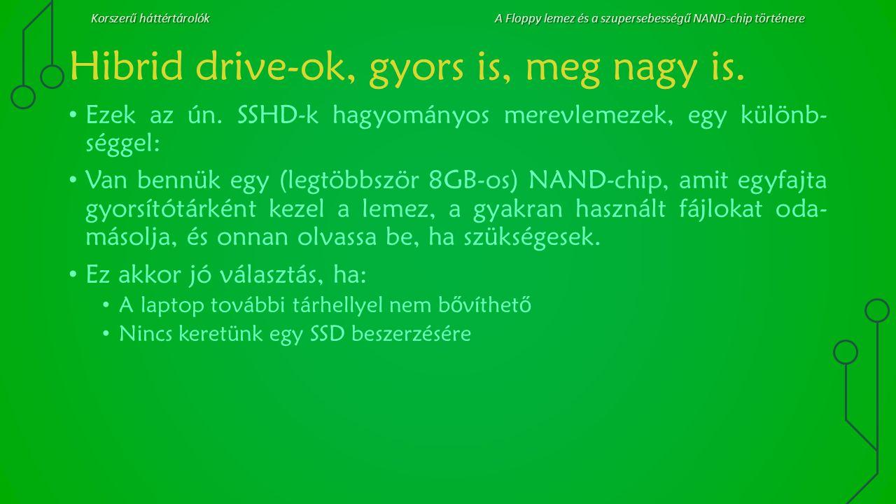 Korszerű háttértárolókA Floppy lemez és a szupersebességű NAND-chip történere Hibrid drive-ok, gyors is, meg nagy is. Ezek az ún. SSHD-k hagyományos m