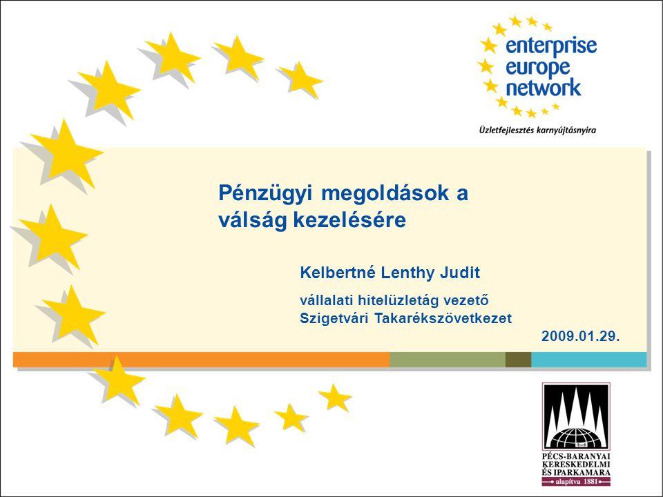Pénzügyi megoldások a válság kezelésére Kelbertné Lenthy Judit vállalati hitelüzletág vezető Szigetvári Takarékszövetkezet 2009.01.29.