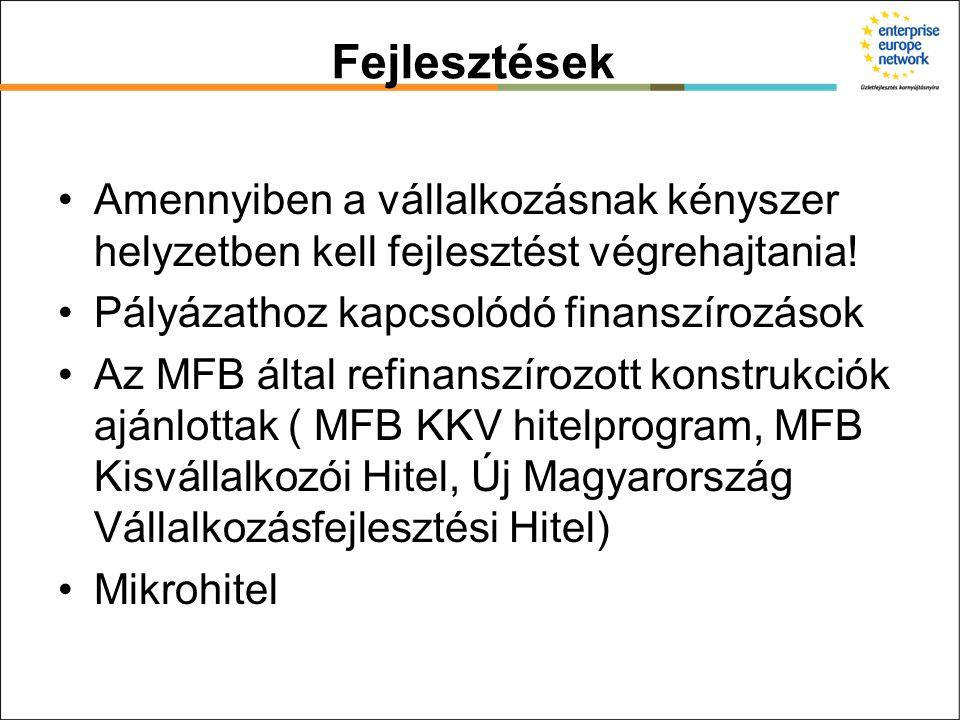Fejlesztések Amennyiben a vállalkozásnak kényszer helyzetben kell fejlesztést végrehajtania! Pályázathoz kapcsolódó finanszírozások Az MFB által refin