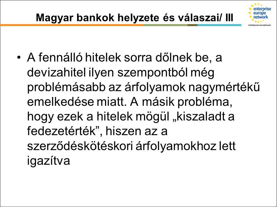 Magyar bankok helyzete és válaszai/ III A fennálló hitelek sorra dőlnek be, a devizahitel ilyen szempontból még problémásabb az árfolyamok nagymértékű