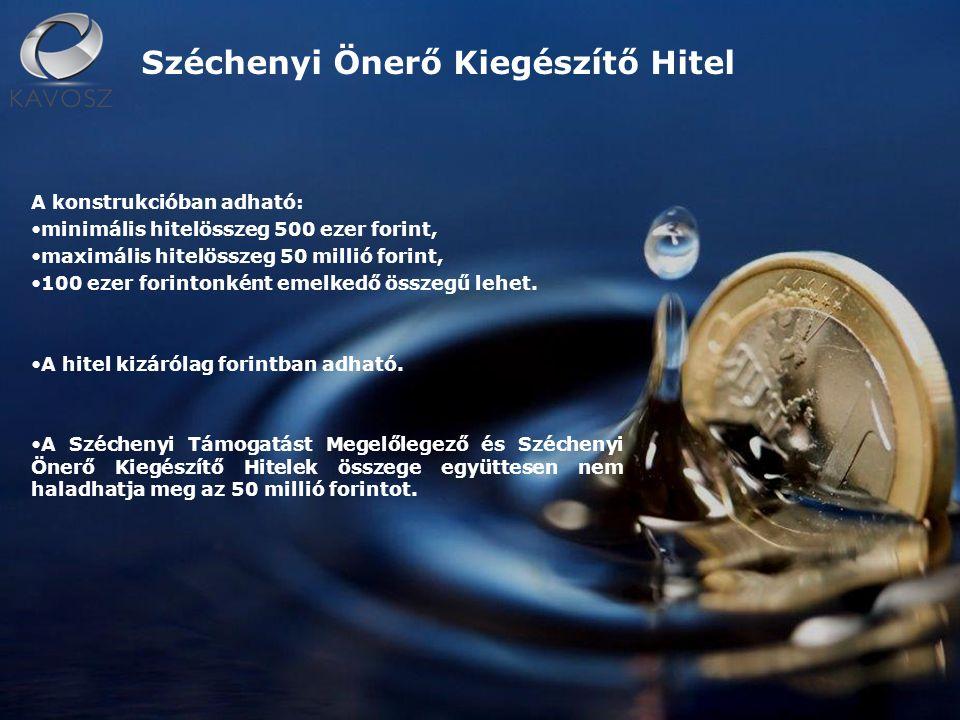 A konstrukcióban adható: minimális hitelösszeg 500 ezer forint, maximális hitelösszeg 50 millió forint, 100 ezer forintonként emelkedő összegű lehet.