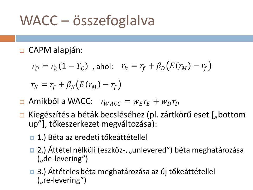 WACC – összefoglalva  CAPM alapján:  Amikből a WACC:  Kiegészítés a béták becsléséhez (pl.