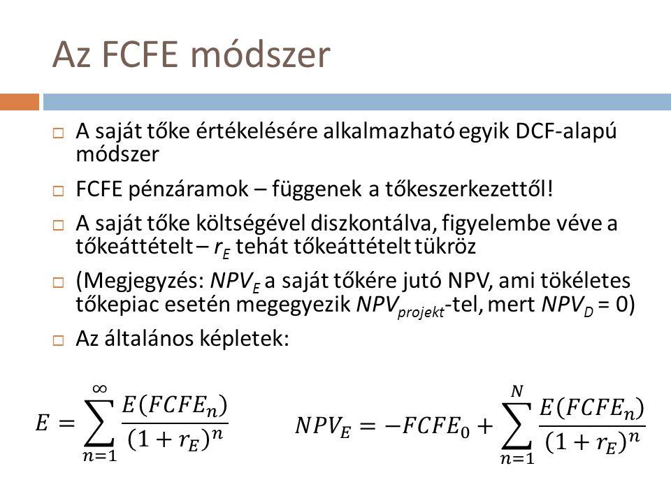 Az FCFE módszer  A saját tőke értékelésére alkalmazható egyik DCF-alapú módszer  FCFE pénzáramok – függenek a tőkeszerkezettől.