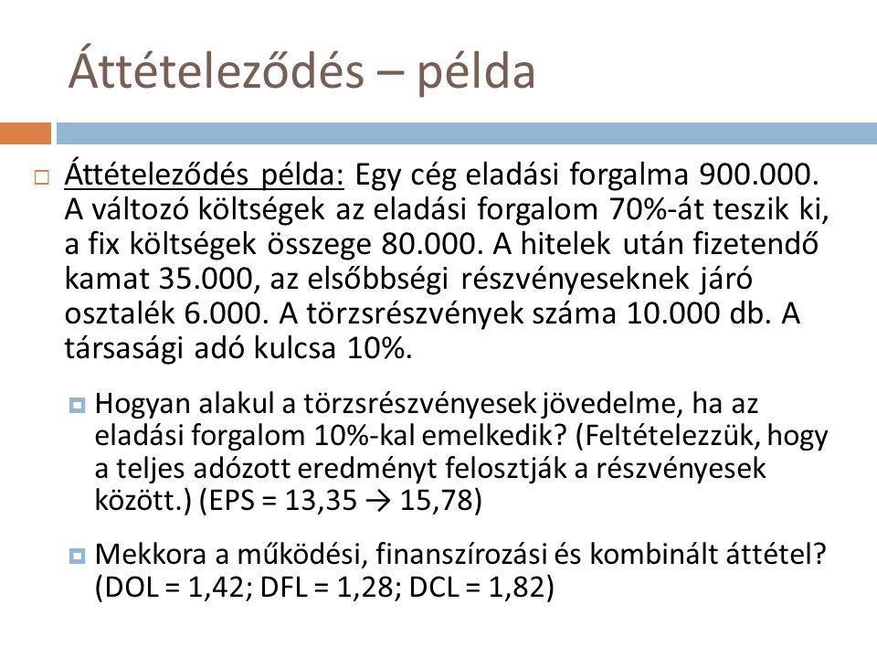 A finanszírozási áttétel hatásai (I.)  Kedvező hatás: hozamnövekedés  Tekintsük az alábbi példát (összes forrás: 1 mill.): 100% saját tőke50% hitel (@5%), 50% saját tőke Részvények10.000 db (100/db)5.000 db (100/db) Piaci helyzetrosszátlagosjórosszátlagosjó EBIT40.00060.00080.00040.00060.00080.000 Kamat00025.000 AEE40.00060.00080.00015.00035.00055.000 Tao.