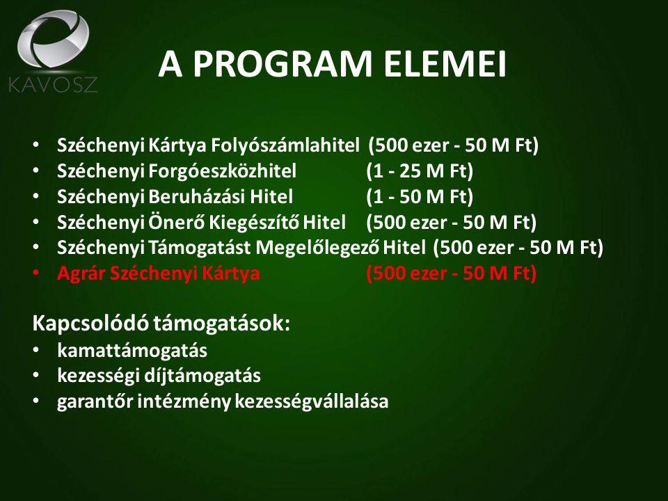 A PROGRAM ELEMEI Széchenyi Kártya Folyószámlahitel (500 ezer - 50 M Ft) Széchenyi Forgóeszközhitel(1 - 25 M Ft) Széchenyi Beruházási Hitel(1 - 50 M Ft) Széchenyi Önerő Kiegészítő Hitel(500 ezer - 50 M Ft) Széchenyi Támogatást Megelőlegező Hitel(500 ezer - 50 M Ft) Agrár Széchenyi Kártya (500 ezer - 50 M Ft) Kapcsolódó támogatások: kamattámogatás kezességi díjtámogatás garantőr intézmény kezességvállalása