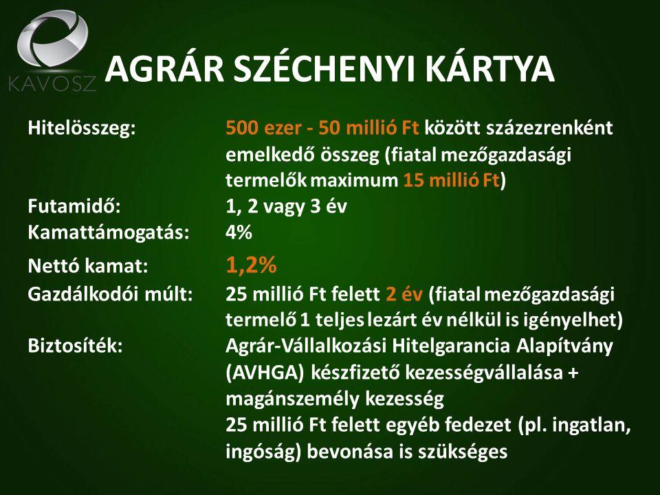 AGRÁR SZÉCHENYI KÁRTYA Hitelösszeg: 500 ezer - 50 millió Ft között százezrenként emelkedő összeg (fiatal mezőgazdasági termelők maximum 15 millió Ft) Futamidő: 1, 2 vagy 3 év Kamattámogatás: 4% Nettó kamat: 1,2% Gazdálkodói múlt:25 millió Ft felett 2 év (fiatal mezőgazdasági termelő 1 teljes lezárt év nélkül is igényelhet) Biztosíték:Agrár-Vállalkozási Hitelgarancia Alapítvány (AVHGA) készfizető kezességvállalása + magánszemély kezesség 25 millió Ft felett egyéb fedezet (pl.
