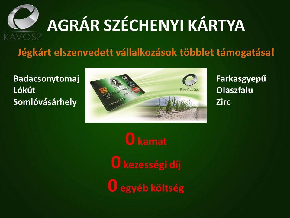 Széchenyi Kártya Folyószámlahitel Széchenyi Forgóeszközhitel HITELÖSSZEG500 ezer - 50 millió Ft1 - 25 millió Ft FUTAMIDŐ1 + 1 év13 - 36 hónap KAMATTÁMOGATÁS 1%3% NETTÓ KAMAT 4,2%3,2% BIZTOSÍTÉKGarantiqa Hitelgarancia Zrt.