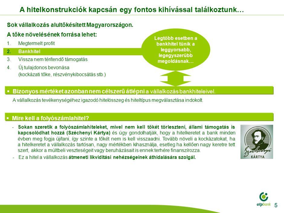 Az OTP Bank fő finanszírozási elvei: 1.A folyószámla forgalom által indokolt folyószámla hitelkeretet szükséges biztosítani.