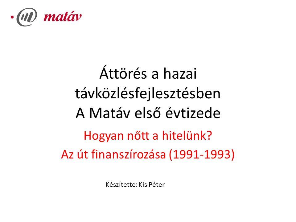 Áttörés a hazai távközlésfejlesztésben A Matáv első évtizede Hogyan nőtt a hitelünk.
