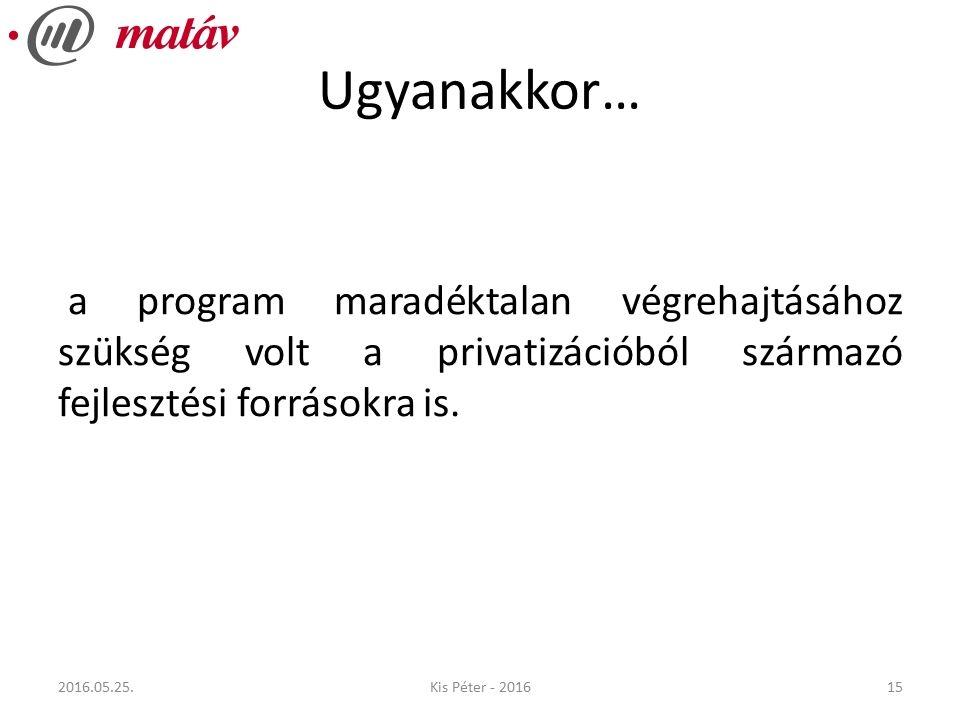 Ugyanakkor… a program maradéktalan végrehajtásához szükség volt a privatizációból származó fejlesztési forrásokra is.