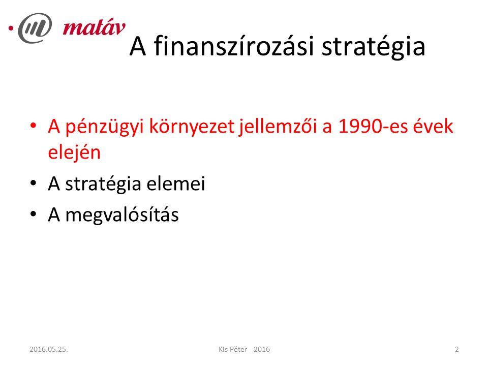 A finanszírozási stratégia A pénzügyi környezet jellemzői a 1990-es évek elején A stratégia elemei A megvalósítás 22016.05.25.Kis Péter - 2016