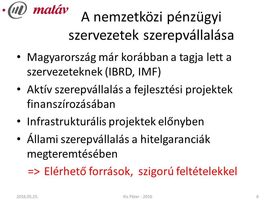 A nemzetközi pénzügyi szervezetek szerepvállalása Magyarország már korábban a tagja lett a szervezeteknek (IBRD, IMF) Aktív szerepvállalás a fejlesztési projektek finanszírozásában Infrastrukturális projektek előnyben Állami szerepvállalás a hitelgaranciák megteremtésében => Elérhető források, szigorú feltételekkel 62016.05.25.Kis Péter - 2016