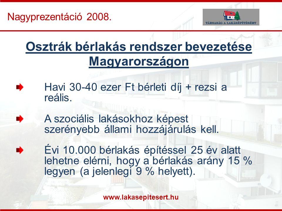 www.lakasepitesert.hu Nagyprezentáció 2008. Osztrák bérlakás rendszer bevezetése Magyarországon Havi 30-40 ezer Ft bérleti díj + rezsi a reális. A szo