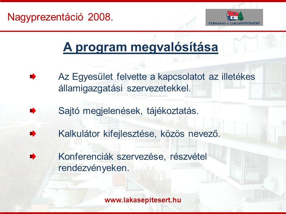 www.lakasepitesert.hu Nagyprezentáció 2008. A program megvalósítása Az Egyesület felvette a kapcsolatot az illetékes államigazgatási szervezetekkel. S