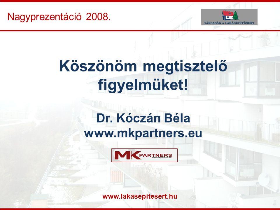 www.lakasepitesert.hu Nagyprezentáció 2008. Köszönöm megtisztelő figyelmüket! Dr. Kóczán Béla www.mkpartners.eu