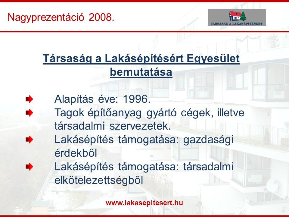 www.lakasepitesert.hu Nagyprezentáció 2008. Társaság a Lakásépítésért Egyesület bemutatása Alapítás éve: 1996. Tagok építőanyag gyártó cégek, illetve