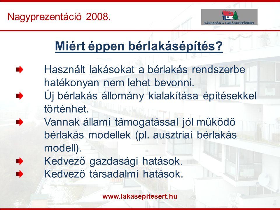 www.lakasepitesert.hu Nagyprezentáció 2008. Miért éppen bérlakásépítés? Használt lakásokat a bérlakás rendszerbe hatékonyan nem lehet bevonni. Új bérl