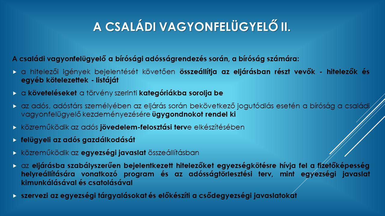 A CSALÁDI VAGYONFELÜGYELŐ II.