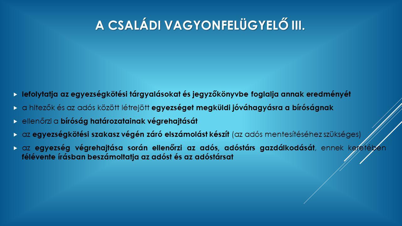 A CSALÁDI VAGYONFELÜGYELŐ III.