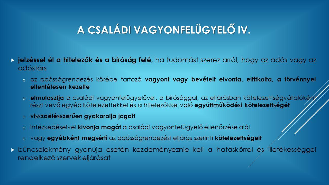 A CSALÁDI VAGYONFELÜGYELŐ IV.
