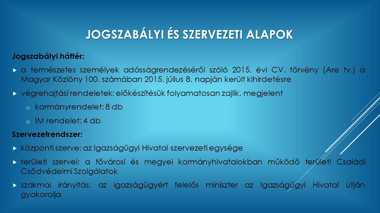 JOGSZABÁLYI ÉS SZERVEZETI ALAPOK Jogszabályi háttér:  a természetes személyek adósságrendezéséről szóló 2015.