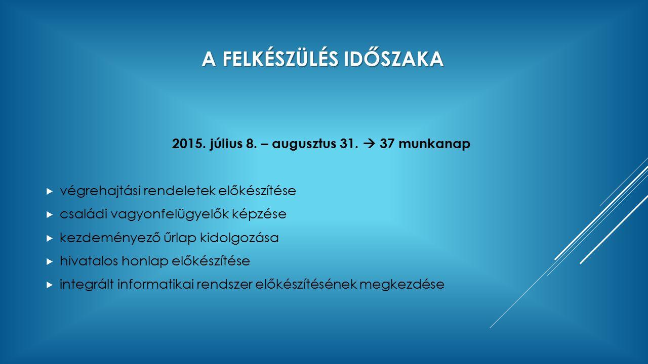 A FELKÉSZÜLÉS IDŐSZAKA 2015. július 8. – augusztus 31.  37 munkanap  végrehajtási rendeletek előkészítése  családi vagyonfelügyelők képzése  kezde