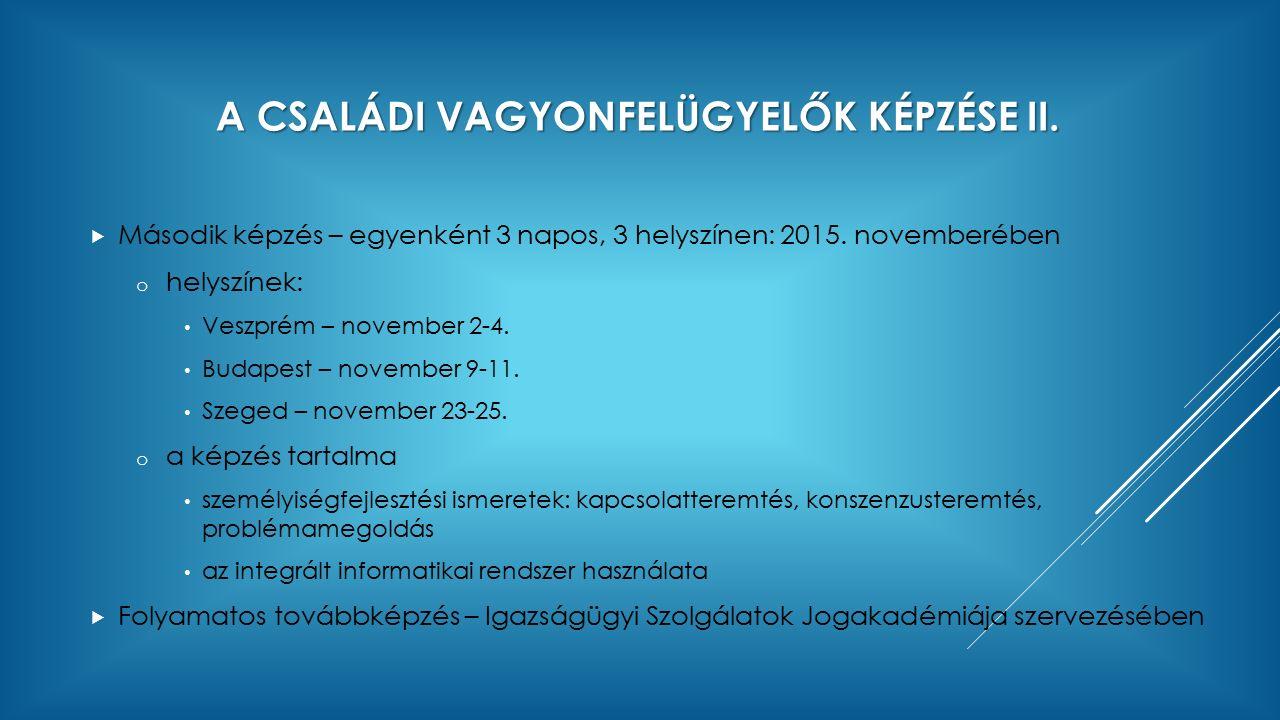 A CSALÁDI VAGYONFELÜGYELŐK KÉPZÉSE II.  Második képzés – egyenként 3 napos, 3 helyszínen: 2015. novemberében o helyszínek: Veszprém – november 2-4. B
