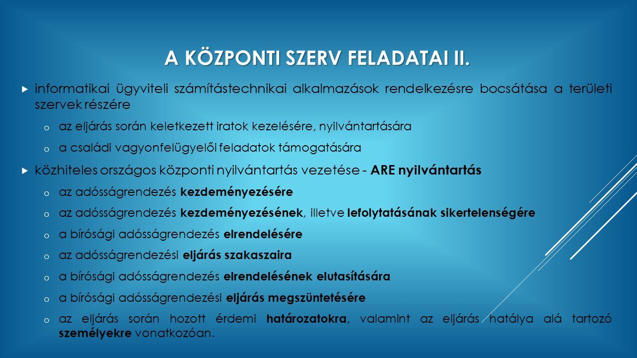 A KÖZPONTI SZERV FELADATAI II.  informatikai ügyviteli számítástechnikai alkalmazások rendelkezésre bocsátása a területi szervek részére o az eljárás